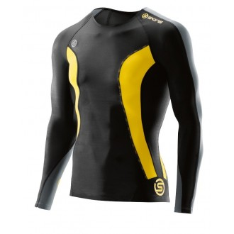 SKINS DNAmic Mens Top Long Sleeve Black/Citron