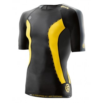 SKINS DNAmic Mens Top Short Sleeve Black/Citron