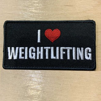 Nášivka I love Weightlifting - 95 x 50 mm se suchým zipem
