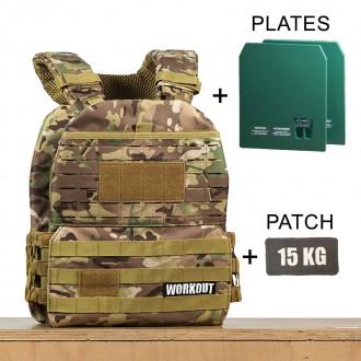 Zátěžová taktická plátová vesta 15 kg WORKOUT 3.0 - Camo + nášivka