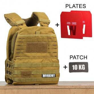 Zátěžová taktická plátová vesta 10 kg WORKOUT 3.0 - khaki + nášivka