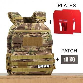 Zátěžová taktická plátová vesta 10 kg WORKOUT 3.0 - Camo + nášivka