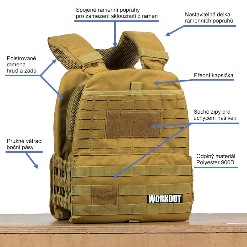 Zátěžová taktická plátová vesta 5 kg WORKOUT 3.0 - Khaki + nášivka