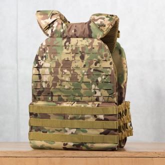 Zátěžová taktická plátová vesta 5 kg WORKOUT 3.0 - Camo + nášivka