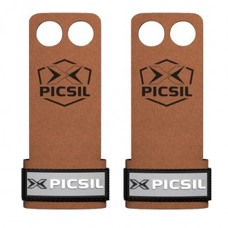 Mozolníky Picsil Raven Grips - 2 prstý - hnědý + šedivé logo
