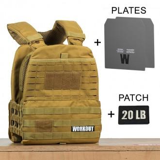 Zátěžová taktická plátová vesta 20 lb WORKOUT 3.0 - Khaki + nášivka (pro WOD Murph)