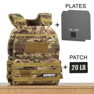 Zátěžová taktická plátová vesta 20 lb WORKOUT 3.0 - Camo + nášivka (pro WOD Murph)